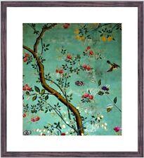 Framed V&A Custom Print - Chinese Wallpaper with Flowering Shrubs & Bees - NEW