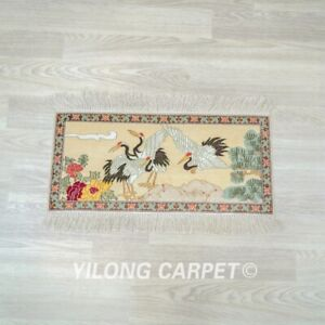 Yilong 2'x1' Crane Design Tapestry Area Rug Antique Handmade Silk Carpets 048H