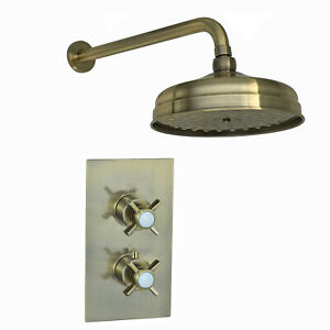"""ENKI SH0280 Traditional Bronze Thermostatic Shower Set Wall Fixed 8"""" Head Arm"""