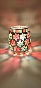 Mosaic Glass Light Night Light Lamp Electric Floral Flowers Boho