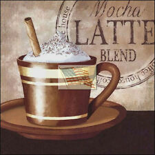 REPRINT PICTURE of coffee print HOUSE MOCHA LATTE BLEND with cup and saucer 6x6