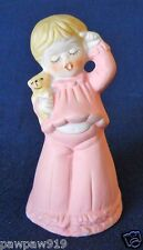 """Ceramic Bell Girl In Pink Pajamas 4 1/4"""" Vintage Cold Paint Marked Jasco 1978"""