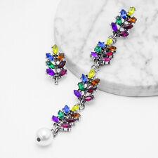 Dangle Earrings Jewelry For Women Girl Rainbow Rhinestone Long Tassels Drop Hook