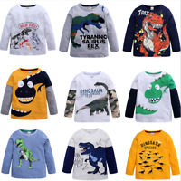 New Kids Boys  Long Sleeve T-Shirt Fashion Cartoon Dinosaur Top Tee  Clothing