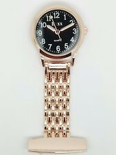 nurse beauticians fob watch rose gold black dial F104
