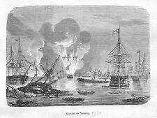GRECE BATAILLE DE NAVARIN GRAVURE ILLUSTRATION 1864