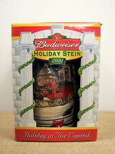 Budweiser Clydesdale Holiday At The Capitol 2001 Christmas Stein NIB Certificate