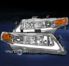 FOR 2004-2008 ACURA TSX CL9 LED BAR TUBE PROJECTOR HEADLIGHTS LAMPS CHROME LH+RH
