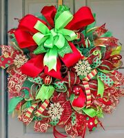 Handmade Deco Mesh Red & Green Christmas Ornament Snowflake Wreath & Door Decor