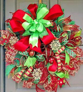 Handmade Deco Mesh Red & Green Christmas Ornament Snowflake Wreath & Door Decor