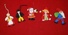 Lot of 5 Wood Ornaments - Norwegian Swedish Santa Tomte Man & Woman Costumes