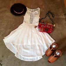 BLESSED ARE THE MEEK WHITE crochet lace FESTIVAL DRESS sz1 8 FULL SKIRT backless