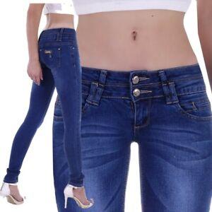 Damen Jeans Röhrenjeans Röhre Stretch Skinny Rise Hose Low Waist Hüftjeans H56