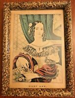 Antique Faux Marble Wood Picture Frame with N Currier Lithograph Mary Ann 15 x11