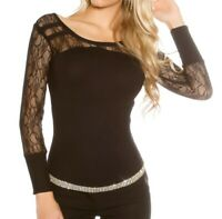 MAILLOT chemise NOIRE femme sous veste pull manches longues brodé t-shirt  AZ1