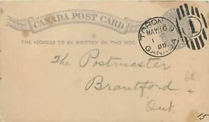 572 - Canada - Intero postale da Toronto a Brantford, 16/05/1888