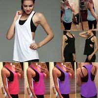 Fashion Womens Yoga Gym Sports Tops Tank Active Stretch Sleeveless Athletic Vest