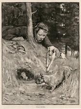 SCOTTISH TERRIER SCOTTIE PARSON JACK RUSSELL POACHER FERRETING ANTIQUE DOG PRINT