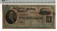 Deposito Confidencial Nacional Monte de Piedad Cinco Pesos Fuertes Mexico 1880's