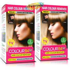 2x Colour B4 ColourB4 Unisex Hair Colour Remover REGULAR Remove Dye Bleach Free