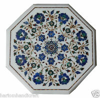 "12"" White Marble Coffee Table Top Lapis Inlaid Gems Marquetry Floral Decors H854"