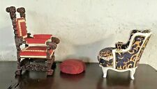 Vintage 3 Pc Take A Seat Miniature Dollhouse Mr & Mrs Vanderbilt Chairs C 1890's