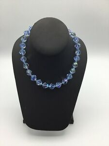 VINTAGE AB CRYSTAL GLASS BEAD NECKLACE MULTI FACETED Single STRAND #AN664