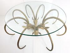 TABLE BASSE ANTILOPE BELIER IBEX LAITON DORE 1970 VINTAGE 70S ALAIN CHERVET 70'S