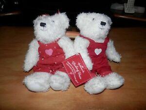 "Hallmark Blushing Bears Magnetic Kiss Hand Holding Stuffed Animal White Bears 9"""
