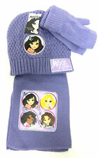 Moxie Girlz 3 Piece Set - Girls Purple Hat Scarf &  Fingerless Gloves S/M