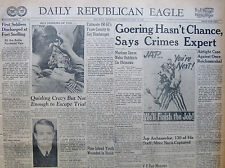 5-1945 WWII May 12 GOERING HASN'T CHANCE, SAYS CRIME EXPERT. PINE ISLAND YOUTH