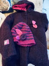 RARE MARESE Designer GIRLS PLUM BOUCLE WOOL COAT AND Appliqué HAT AGE 6 Years