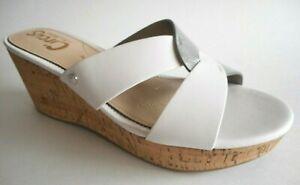 BRAND NEW SAM EDELMAN Size 8M Dual White / Silver Mule Cork Wedge Sandal Shoes