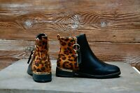 New Ladies Womens Leopard Low Block Heel Zip Chelsea Ankle Boots Shoes Size 3-8