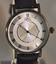 New Mens Invicta 23162 Vintage Slim Swiss Silver Dial Leather Strap Watch