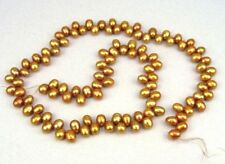 Fresh water pearl bronze oval top drilled beads 4x7mm  15''