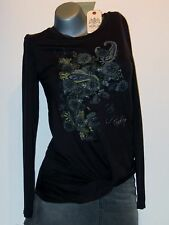 Replay Ladies Long Sleeve Top T-Shirt Size M(40/42) Black NEW W3101