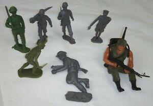 7 Vintage Toy Soldier Lot:Lead WWII,1974 Mattel,1968 Marx,TB Play Set