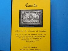 CANADA ARRIVAL OF CARTIER AT QUEBEC SHIP ANTIQUE 999 SILVER BAR STAMP COMMEM COA