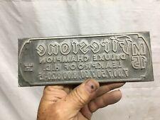 Vintage Lead Reversed Printing Letterpress Printers Block Firestone Tire 1920s