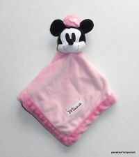 Disney Pink Minnie Mouse Baby Security Blanket Pie Eye Flower Hat Velour EUC P70