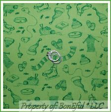 BonEful Fabric Cotton Quilt Green Xmas Ice Skate Old Knit Hat Gloves Scarf SCRAP