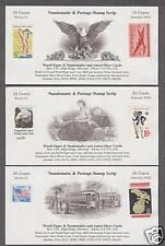 Merchant Scrip - 10c, 25c, & 50c - 2002 w/postage validation - Intaglio Printed
