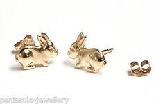 9ct Oro Coniglio Bunny borchie orecchini regalo in scatola made in UK