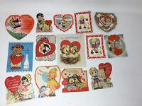 Vintage Valentine Cards Animals Kids Children Mixed Lot of 14