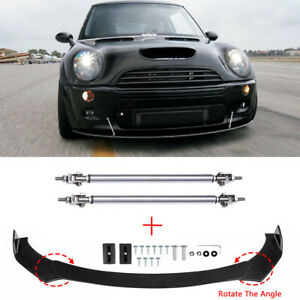 Front Bumper Lip Splitter Spoiler+Strut Rod For Mini Cooper S R53 R56 R60 F56 60