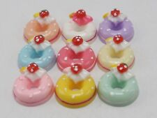 10 Mixed Color Flatback Resin Strawberry Donut Cabochons 18mm Scrapbooking Craft