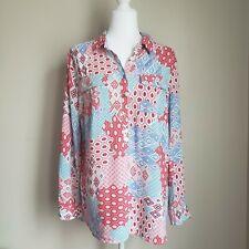 Vintage Talbots Button Down Blouse Multicolor Sz M Long Sleeve