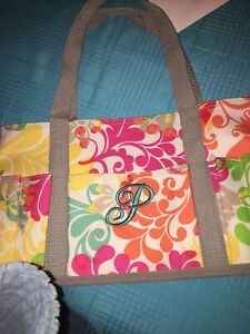 Thirty One SMALL Utility Tote - Floral With P Monogram On Front