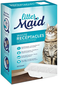 LitterMaid Waste Receptacles, Disposable/Sealable Waste Receptacles, 12 Count